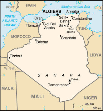 Map of Algeria with cities