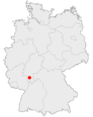 Map of Germany showing Darmstadt
