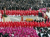 Members of the College of Cardinals look on at Pope John Paul II's Funeral.