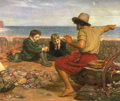 The Boyhood of Raleigh by , oil on canvas, 1870.A seafarer tells the young  and his brother the story of what happened out there at sea.  Young Raleigh's toy boat is in the lower left.