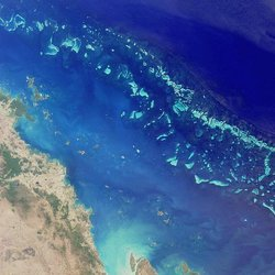 Satellite image of a part of the Great Barrier Reef. Photo courtesy of NASA.