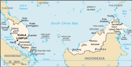 Map of Peninsular and East Malaysia