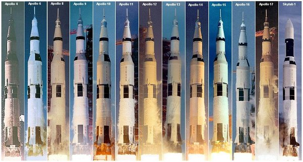 The Saturn V launched day or night in foul weather or fair at the appropriate time to reach its destination as shown in this montage of all launches