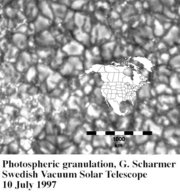 Convection cells on the Sun with North America superimposed