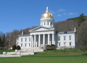 The   of the  () in  is visible for many miles around the city. The Capitol building is in the  architectural style and was completed in . It is built of  from the famous quarrys in the nearby town of , and has a  with  in the . Montpelier became the state capital in .